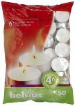 Bolsius Tea Lights White 4hr (Bag Of 50)