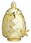 BarCraft Tropicana Metallic Gold Pineapple Shaped Glass Drinks Dispenser 6 Litres