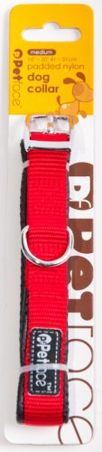 Petface Padded Nylon Dog Collar Red Med