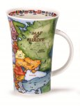 Dunoon Glencoe Shape Fine Bone China Mug - Map of Europe