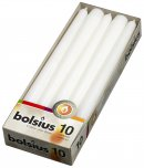 Bolsius Tapered Candle White 24.5 x 2.4cm 10PK