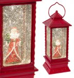 The Christmas Workshop LED Water & Glitter Lantern Red with Santa