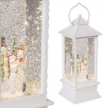 The Christmas Workshop LED Water & Glitter Lantern White with Snowmen