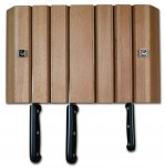 Grunwerg Magnetic 6 Slot Wall Mounted Wood Knife Block