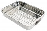 KitchenCraft Stainless Steel Roasting Pan with Rack 35x28x6.5cm