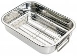 KitchenCraft Stainless Steel Roasting Pan with Rack 27x20x5cm