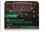 Premier Decorations Pearl Berry Lights Multi-Action 100 LED - Red