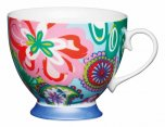 KitchenCraft Fine Bone China Footed Mug 400ml - Bright Floral