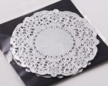 NJ Products Cocktail Silver Lacy Doilies 3.5