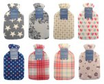 Country Club Hot Water Bottle With Printed Fleece Cover - Assorted Designs
