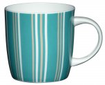 Kitchen Craft Bone China 425ml Barrel Shaped Mug - Blue Stripe