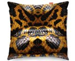 Kico Animal Skin 45x45cm Funky Sofa Cushion -  Yellow Snake