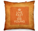 Kico Keep Calm Vintage 45x45cm Funky Sofa Cushion - Live Fast