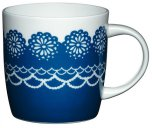 Kitchen Craft Bone China 425ml Barrel Shaped Blue Doily Mug