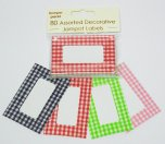 NJ Products Assorted Gingham Jam Pot Labels Pack of 80