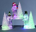 Premier Decorations Colour Changing Acrylic Snowman with Tree 21cm
