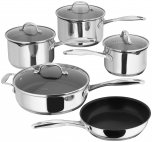 Stellar 7000 Draining 5 Piece Saucepan Set with Non-Stick Frying & Saute Pans