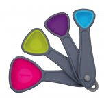 Colourworks Brights Measuring Spoon Set with Grey Nylon Frames