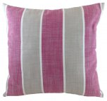 Evans Lichfield Romario Cushion 43cm Raspberry/Biscuit Stripe