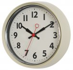 Rex 50s Style Metal Wall Clock Ivory