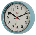 Rex 50s Style Metal Wall Clock Blue