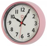 Rex 50s Style Metal Wall Clock Pink