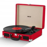 Akai Retro 60's Premium Leather Suitcase Style Record Player - Red