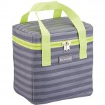 KitchenCraft Lunch Grey Stripy 5 Litre Cool Bag with Lime Handles