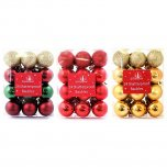 Festive Wonderland Baubles 3cm (Pack of 24) - Assorted Classic Christmas