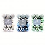 Festive Wonderland Baubles 3cm (Pack of 24) - Assorted Winter Wonderland