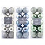 Festive Wonderland Shatterproof Baubles 6cm (Pack of 20) - Assorted Winter Wonderland