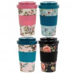 Lesser and Pavey Eco Bamboo Travel Mug 350ml - Floral Designs