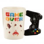 Puckator Game Over Ceramic Shaped Handle Mug with Pixel Decal