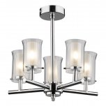 Dar Elba 5 Light semi Flush Polished Chrome IP44