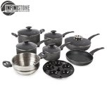 Tower 9 Piece Stone Coated Cookware Set Graphite