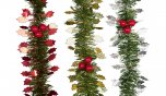 Premier Decorations Tinsel Garland Holly & Berry 2.7M - Assorted