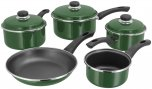 Judge Induction 5 Piece Saucepan Set (14/16/18/20cm & 24cm Frying) - Green
