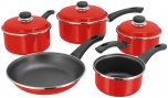 Judge Induction 5 Piece Saucepan Set (14/16/18/20cm & 24cm Frying) - Red