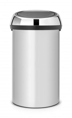 Brabantia Touch Bin 50 Liter Wit.Brabantia 60 Litre Touch Bin In Metallic Grey With Brilliant Steel Lid
