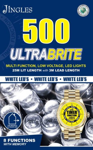 Jingles 500 UltraBrite Multi-Function LED Lights with Timer - White