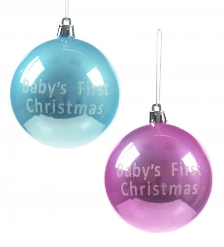 Premier Decorations Baby's First Christmas Bauble 80mm - Assorted