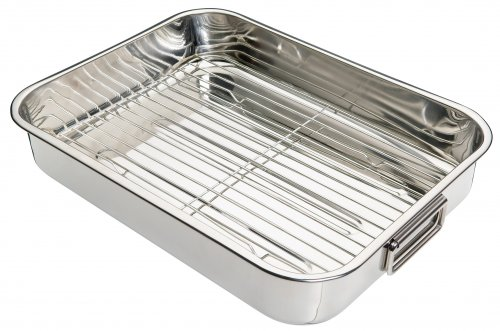 KitchenCraft Stainless Steel Roasting Pan with Rack 40x30x8cm