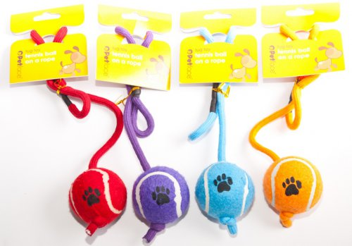 Petface Tennis Ball On A Rope - Assorted