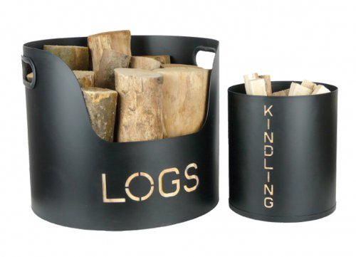 Manor Reproductions Log and Kindling Tubs - Black - Set of 2