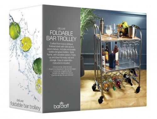 Barcraft Folding Industrial Look Carbon Steel Home Bar Drinks