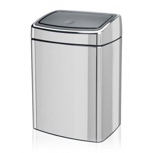 Brabantia Rectangular 10 Litre Touch Bin Fingerprint Proof in Matt Steel