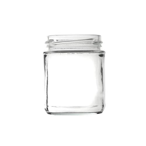 Panelled Glass Food Jar with Gold Twist Cap 190ml