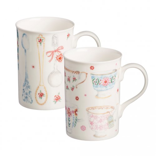 Price & Kensington Tea Cups and Spoons 11oz Bone Chine Mugs