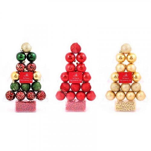 Festive Wonderland Decoration Set (Set of 16) - Assorted Classic Christmas